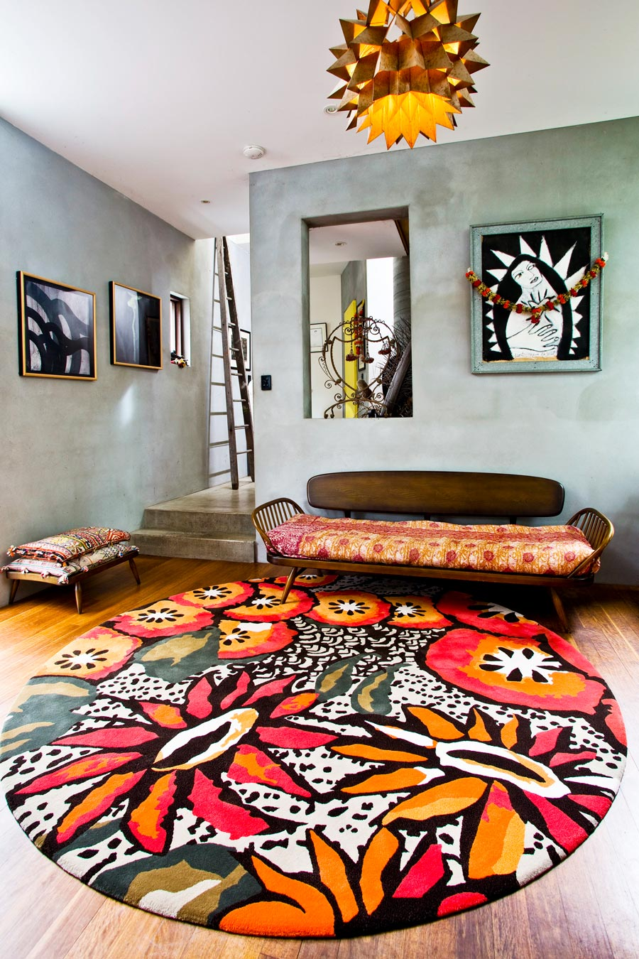 location shot of passion flower round rug by easton pearson