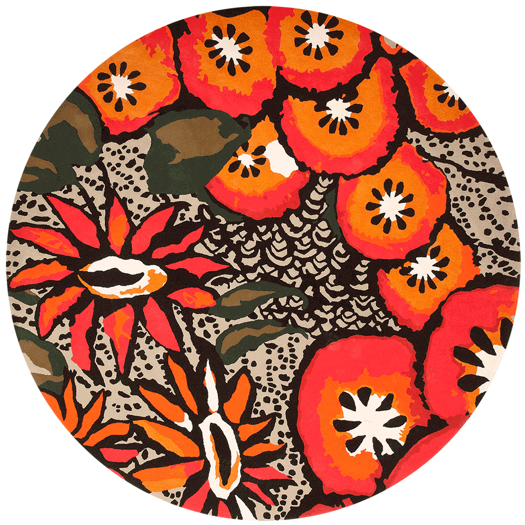 overhead of passion flower round rug by easton pearson