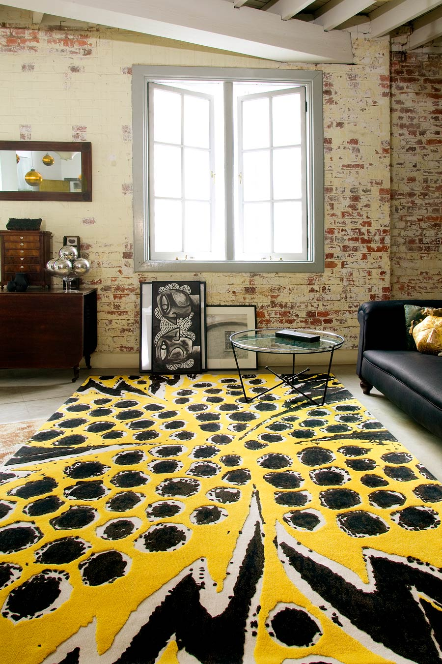 location living room shot of pollen rug by easton pearson