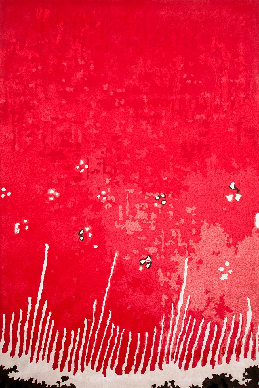 overhead of poppy field rug by easton pearson