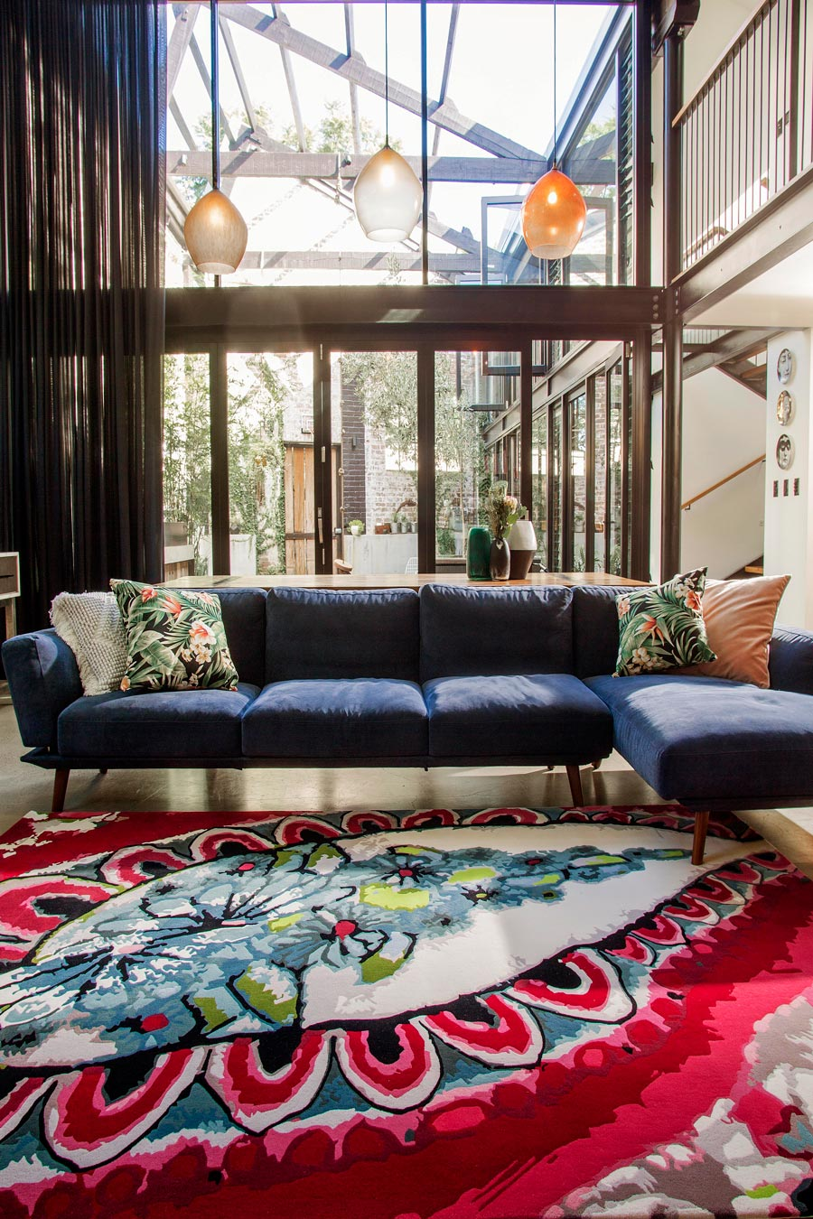 location living room shot of rose cocoon rug by easton pearson