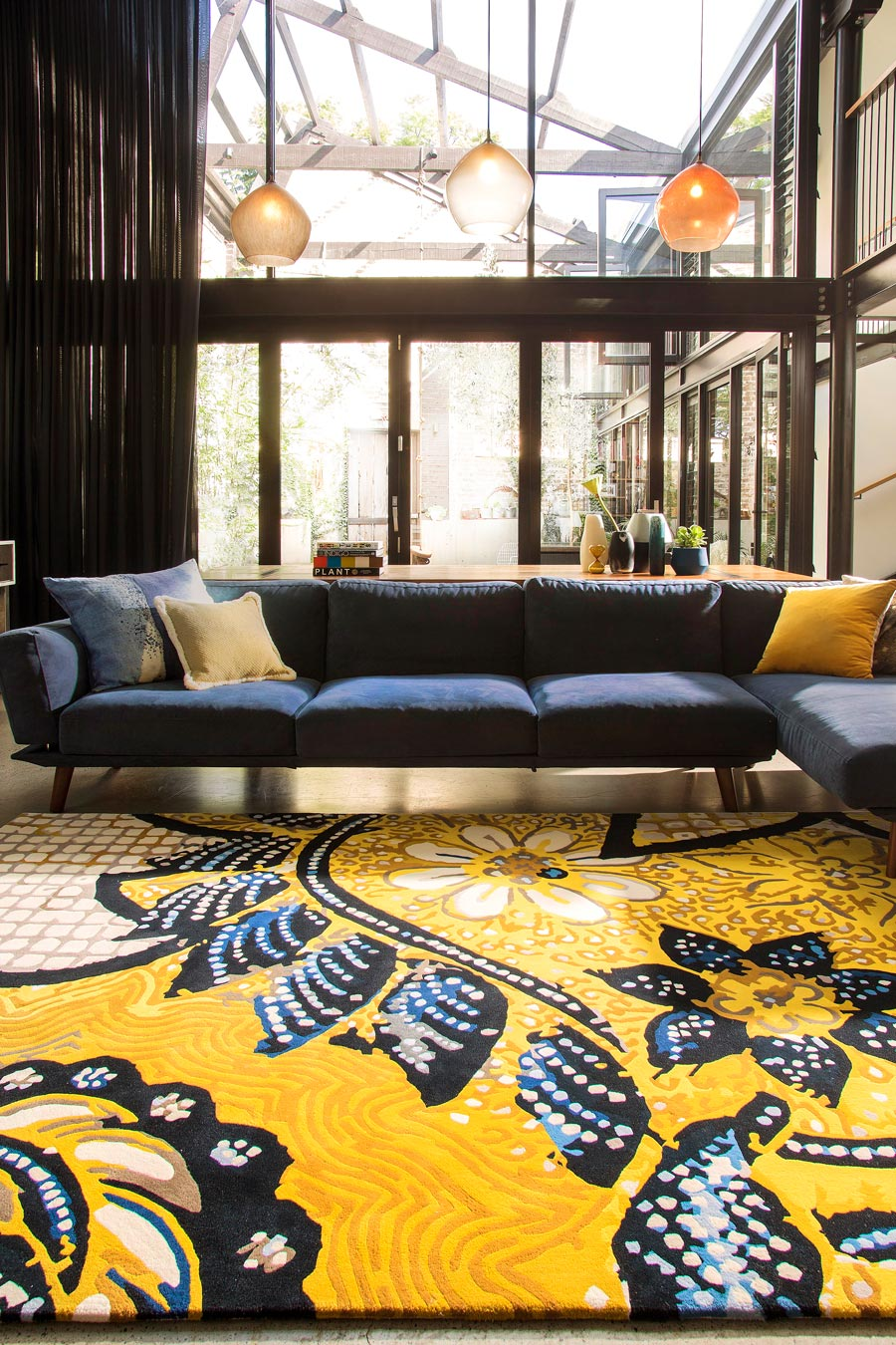 location living room shot of wishing well rug by easton pearson