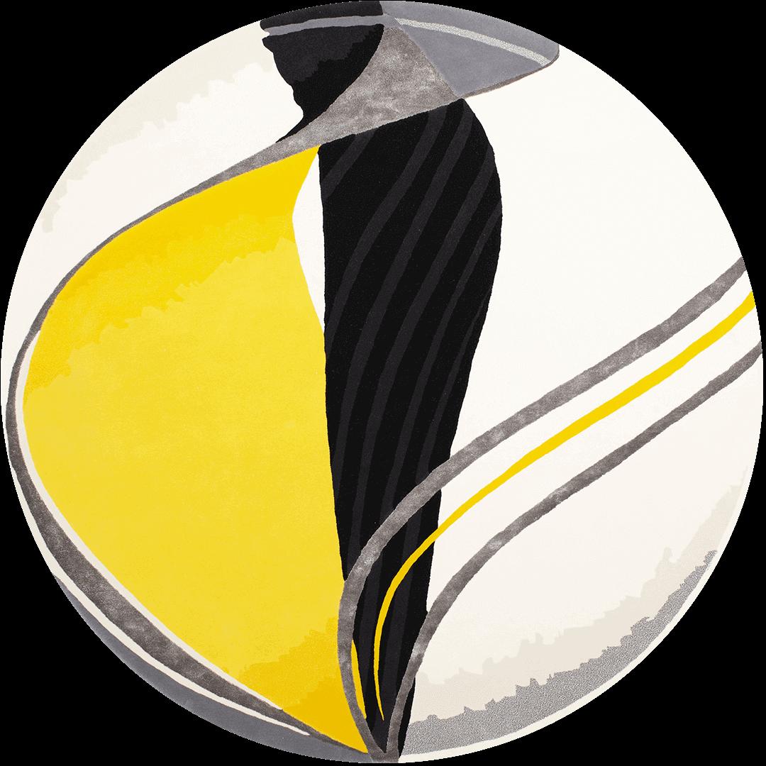 Overhead image of yellow Swirl rug