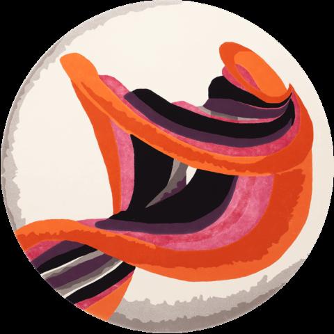Overhead image of orange Twist rug