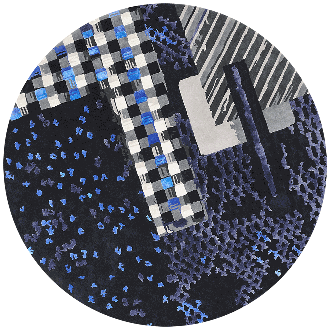overhead of materiality 1 blue round rug by emma elizabeth designs