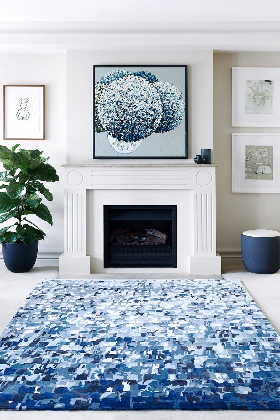 location living room shot of bronte rug by felicia aroney blue painterly