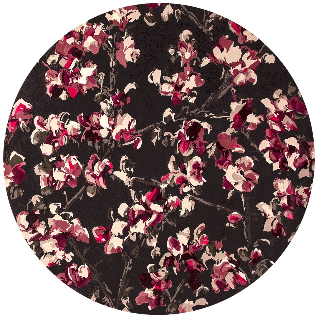 overhead of marguerite round rug by felicia aroney pink floral