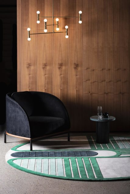location living room shot of circuit round rug by gavin harris