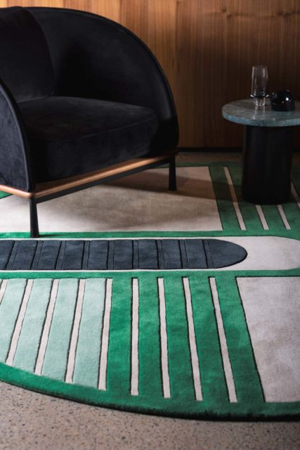 close up of circuit round rug by gavin harris