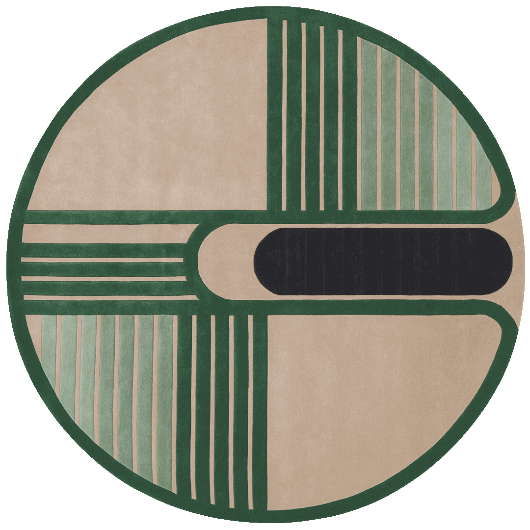 overhead of circuit round rug by gavin harris