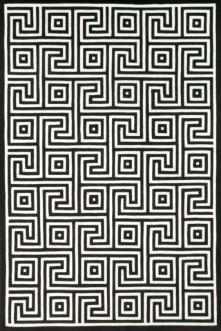 overhead of corfu rug by greg natale classic black white