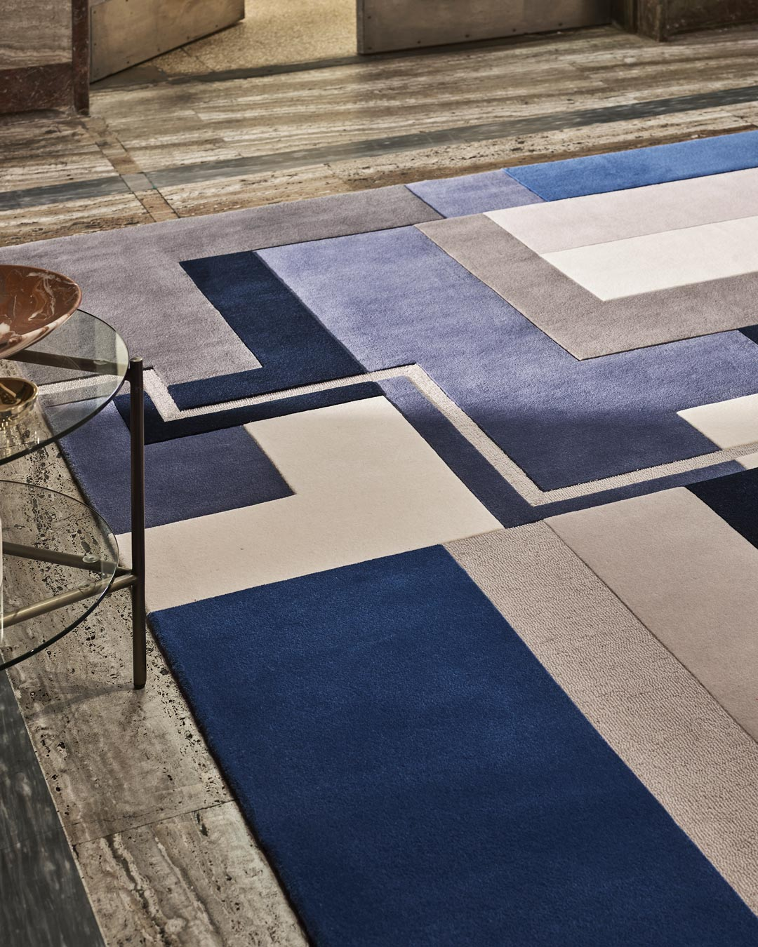 close up of dunand rug by greg natale