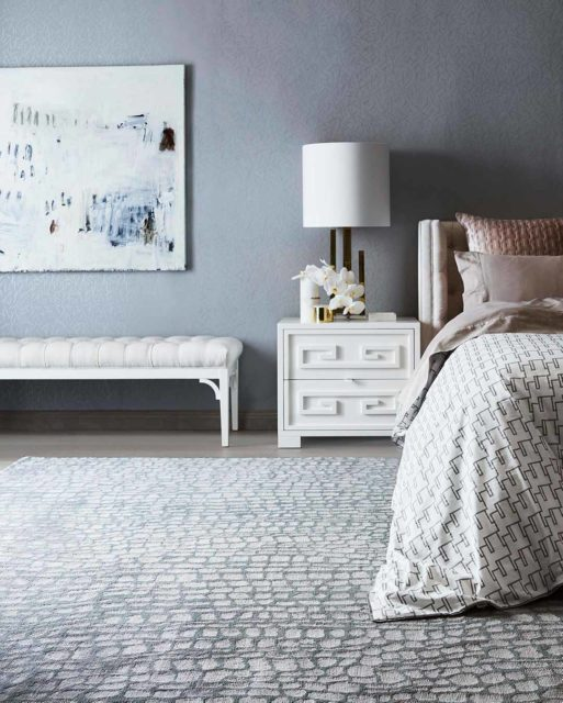 location bedroom shot of hide rug by greg natale
