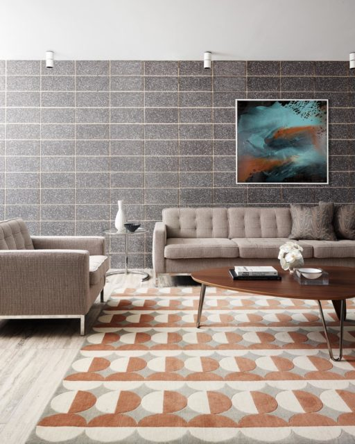 location living room shot of london rug by greg natale