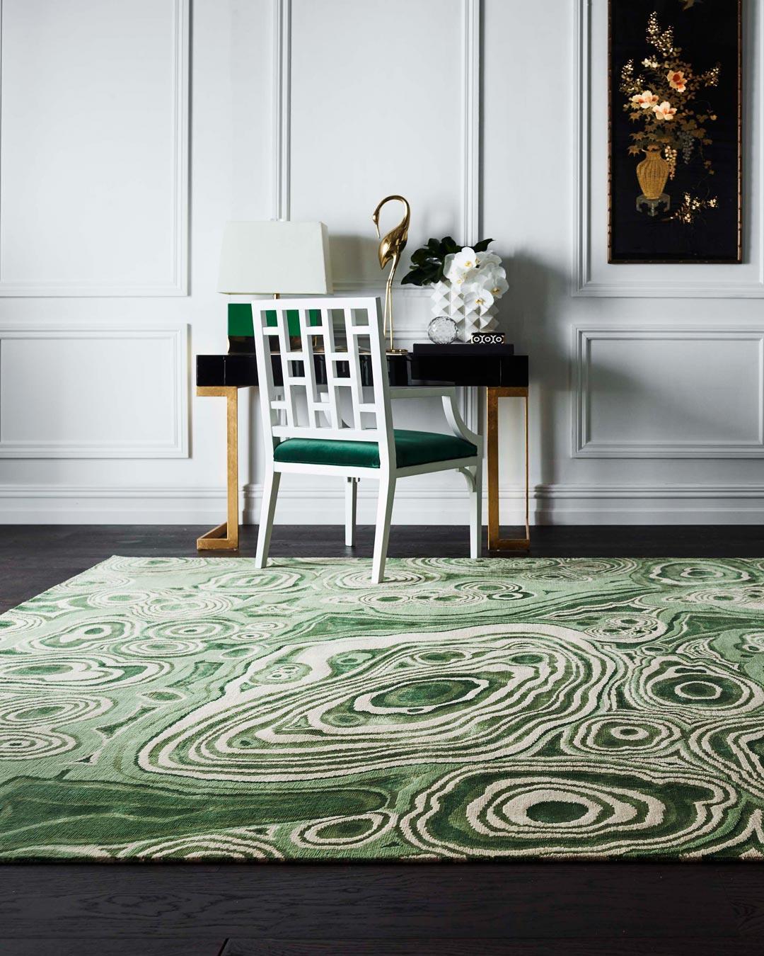 location shot of malachite rug by greg natale