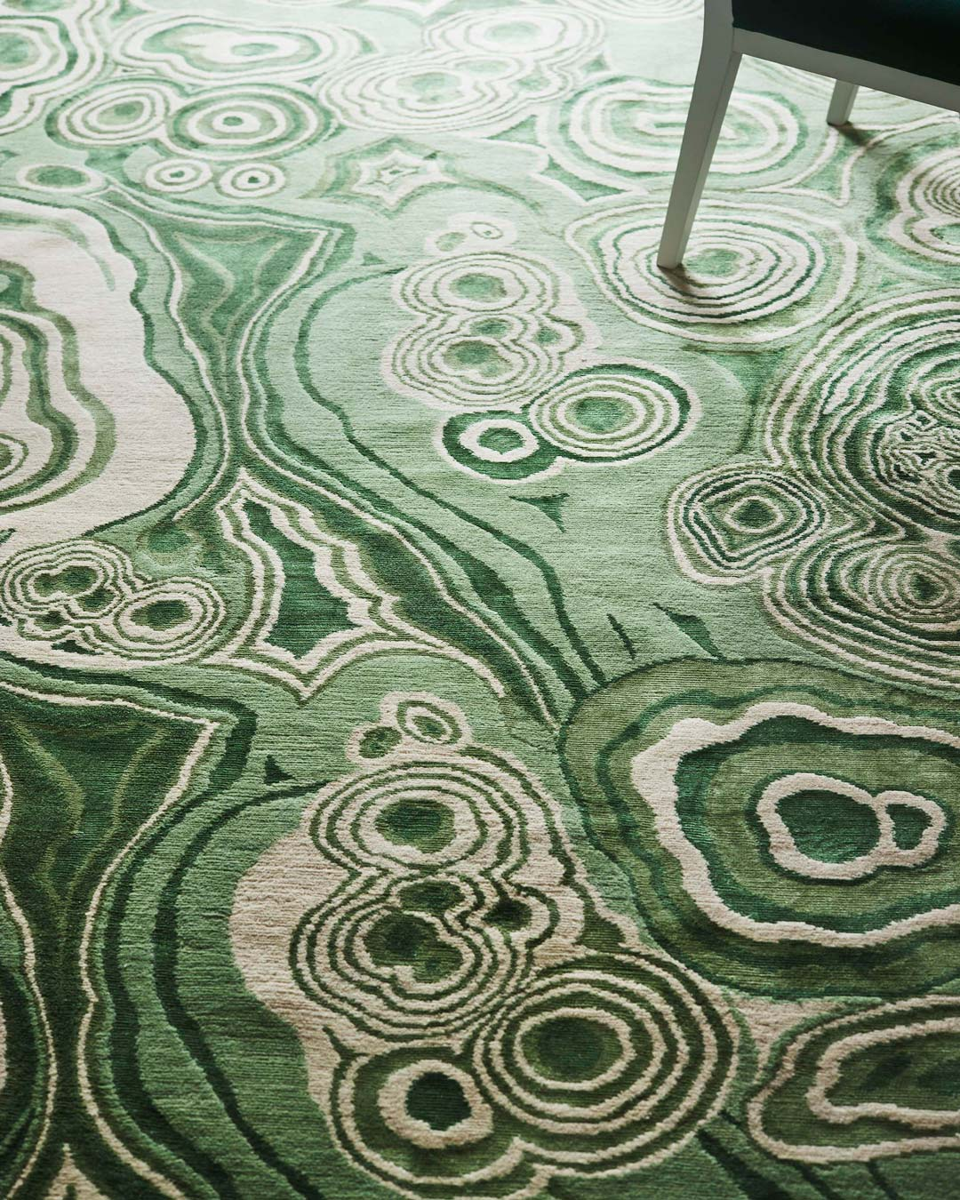 close up of malachite rug by greg natale
