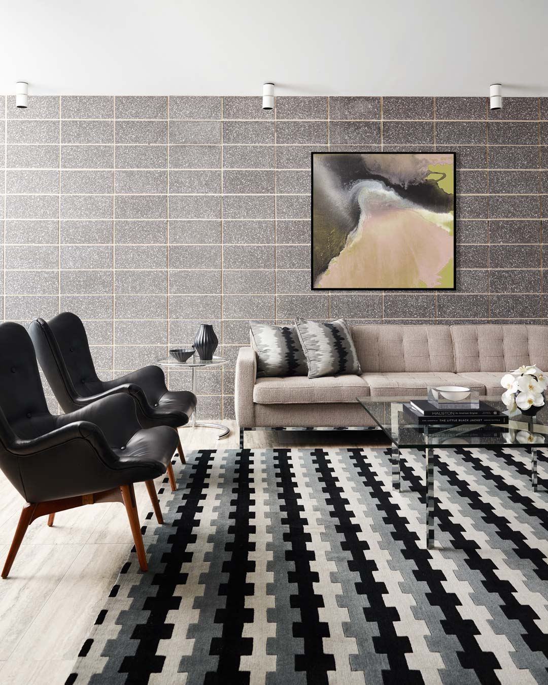 location living room shot of memphis rug by greg natale