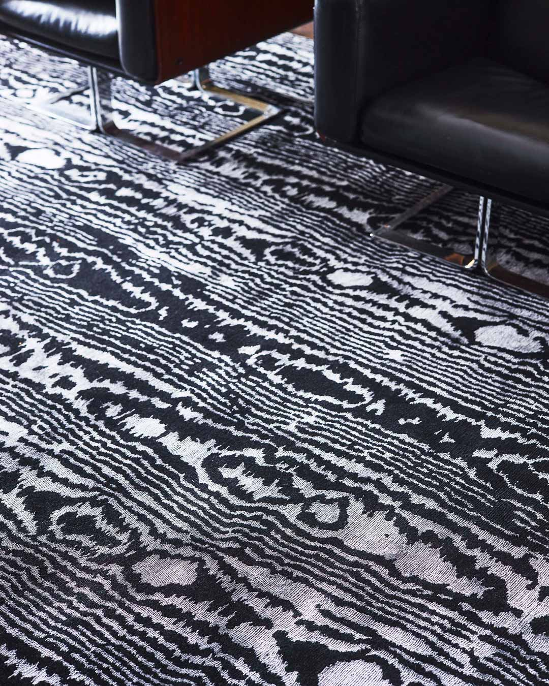 close up of moire rug by greg natale