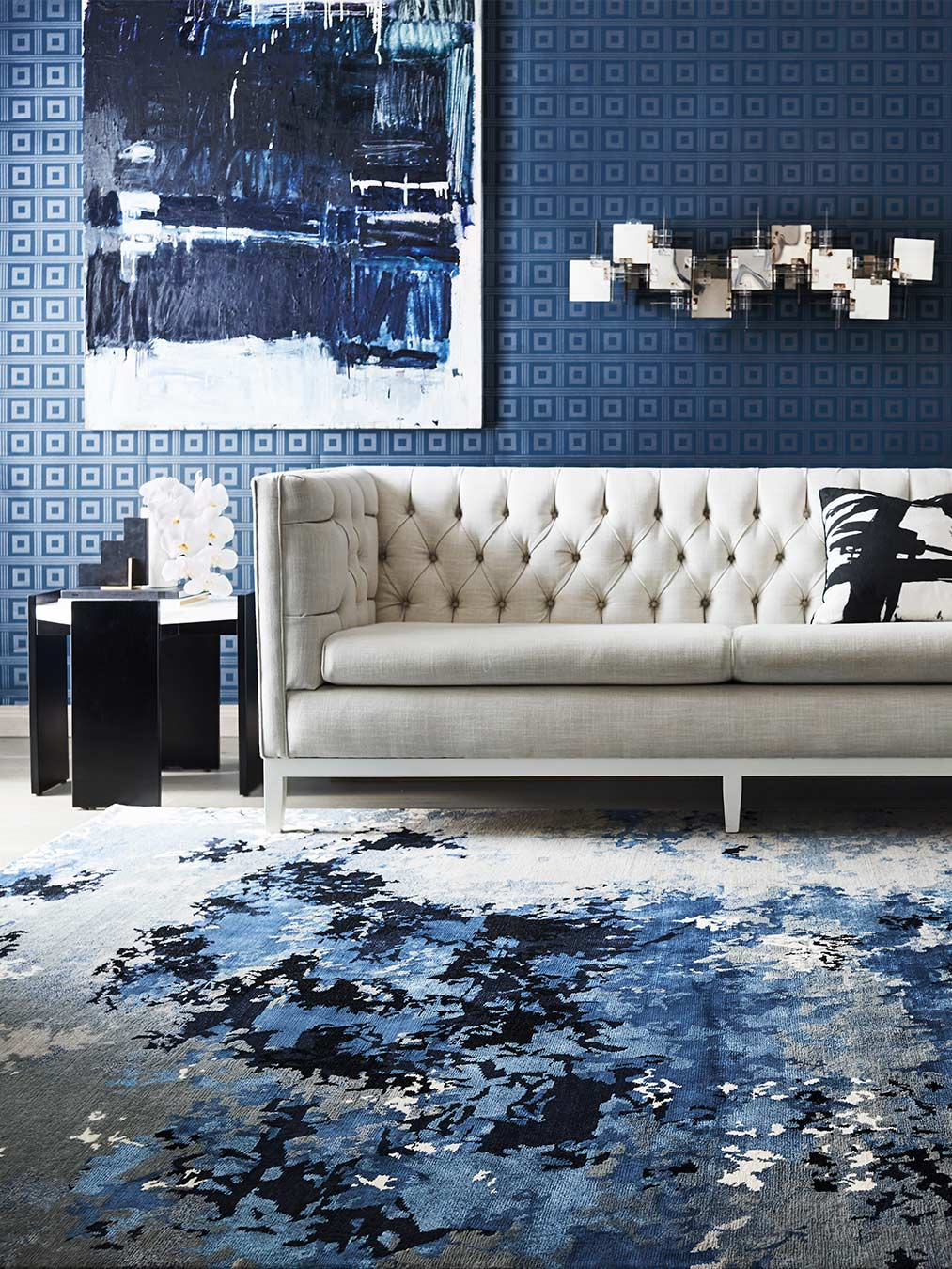 location living room shot of vapour rug by greg natale