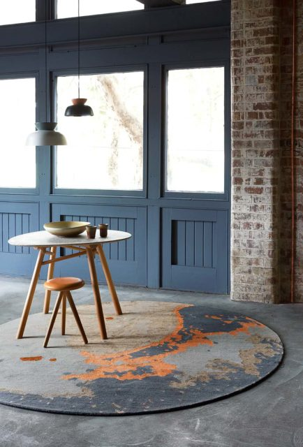 location shot of aceto round rug by hare + klein