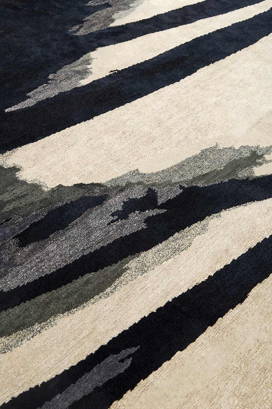 Detailed image of painterly Canopy rug by Hare + Klein