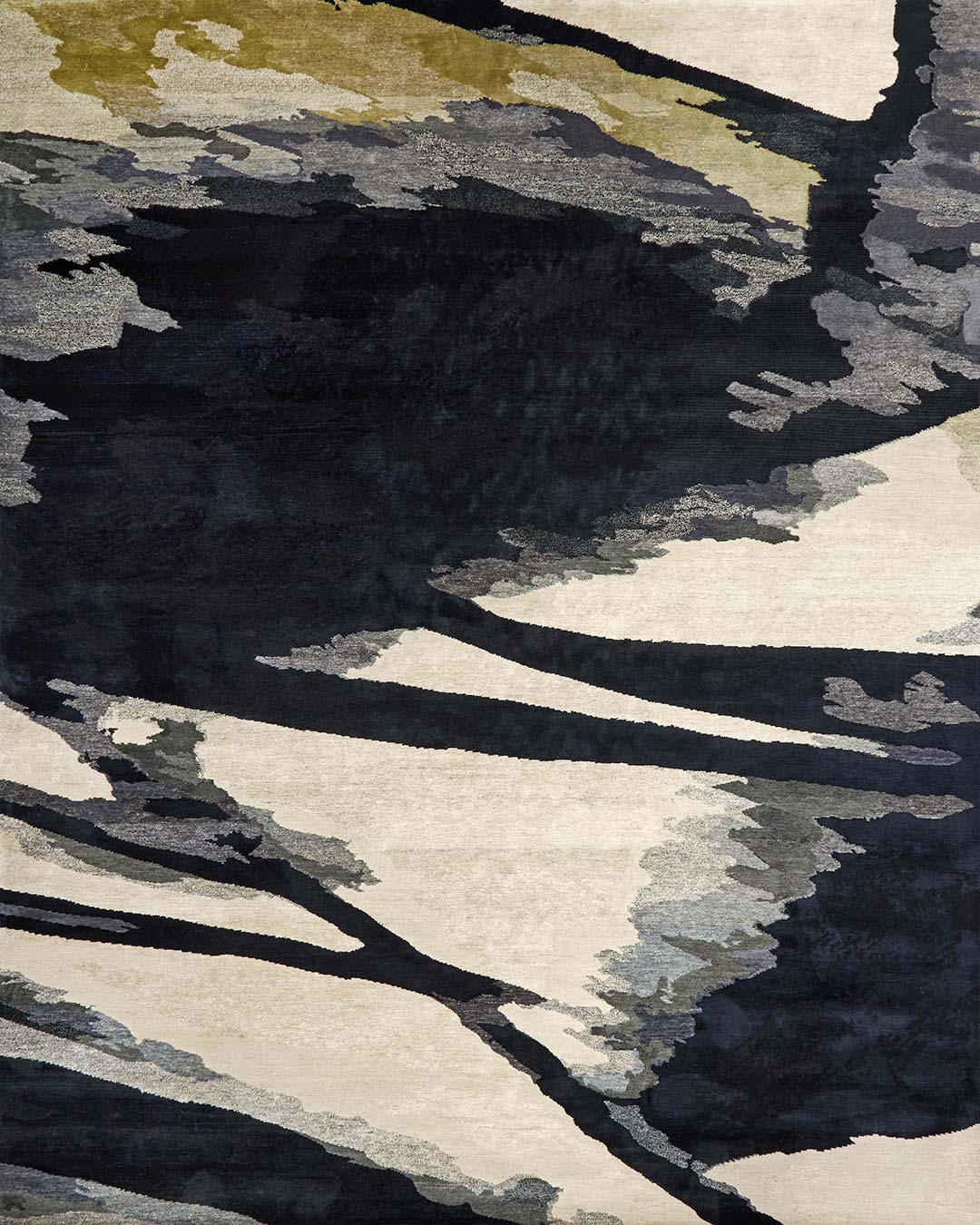 Overhead image of painterly Canopy rug by Hare + Klein