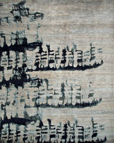 Overhead image of abstract Etched rug by Hare and Klein in grey