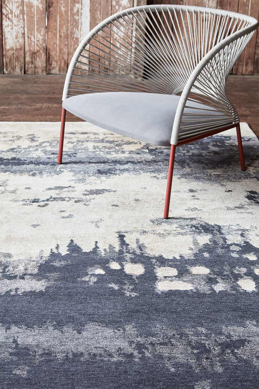Styled image of abstract Haze rug by Hare + Klein