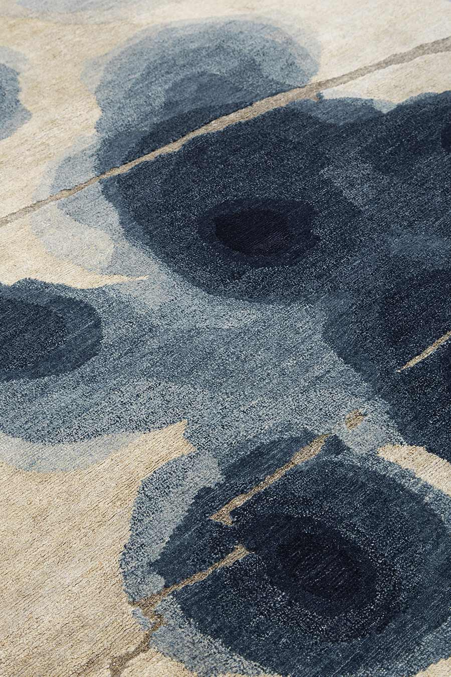 Detailed image of painterly Inkblot handknot rug by Hare + Klein