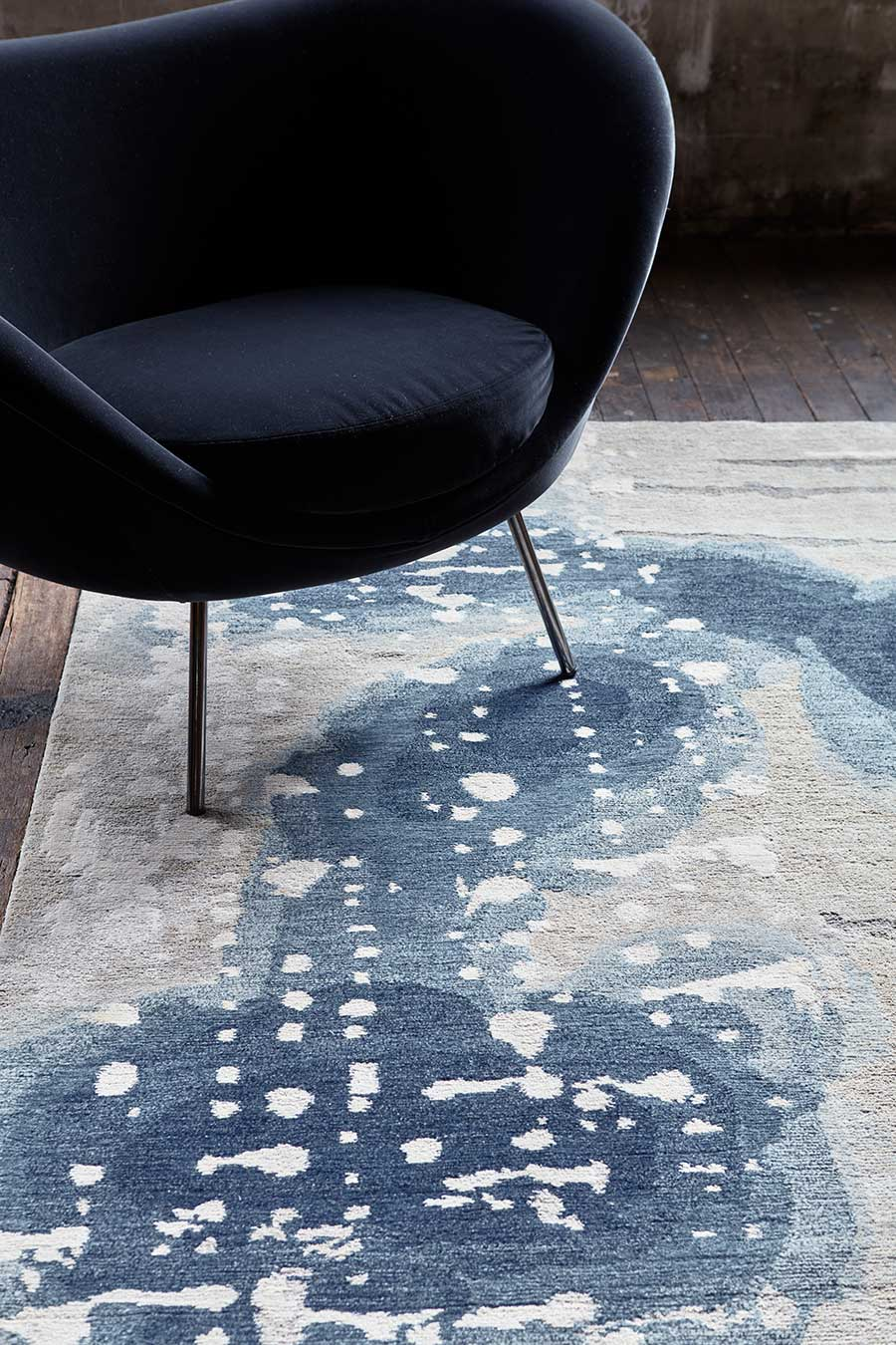 Close up image of painterly Inkblot handknot rug by Hare + Klein