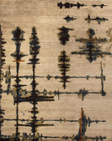 Overhead image of abstract Inlets handknot rug by Hare and Klein in beige colour