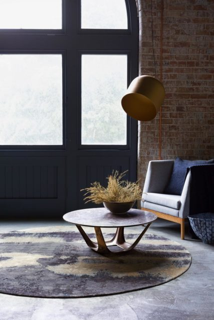 Living room image of textural Landscape rug by Hare and Klein in grey colour