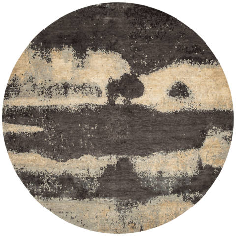 Overhead image of textural Landscape rug by Hare and Klein in grey colour