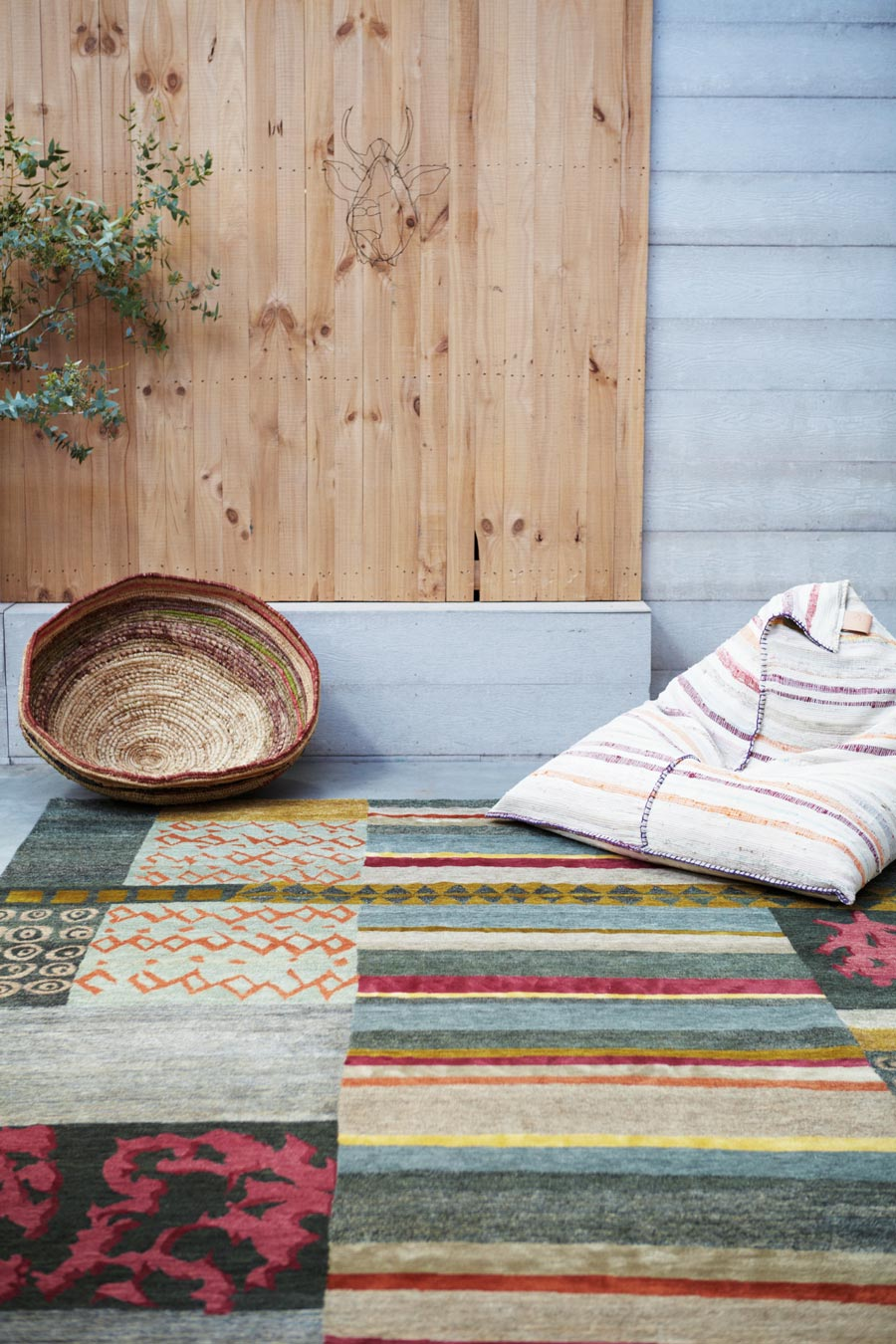 Styled image of patchwork Memory rug by Hare and Klein