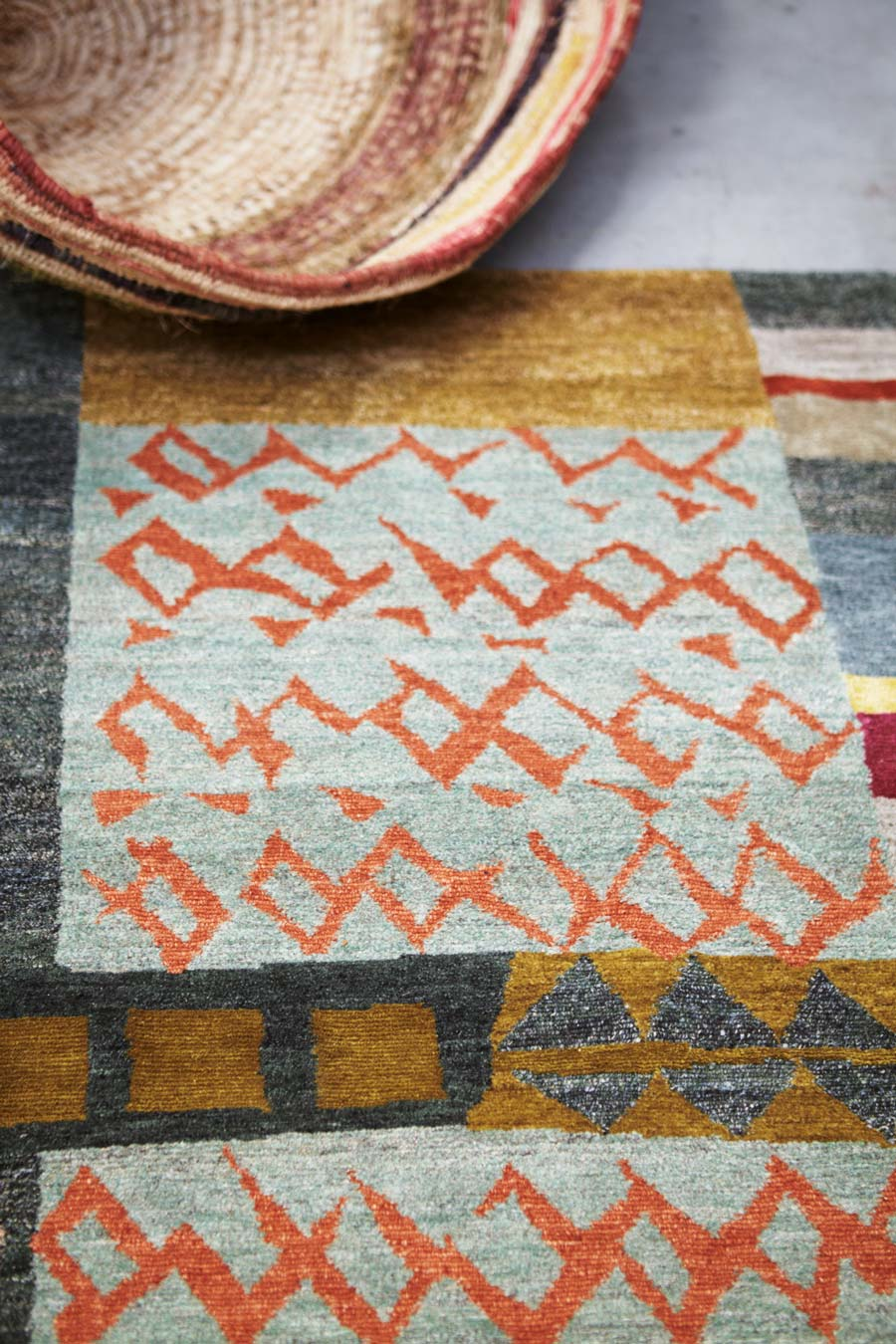 Detailed image of patchwork Memory rug by Hare and Klein