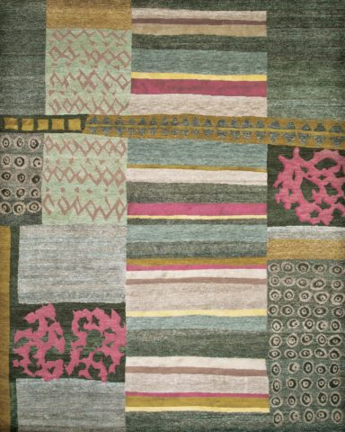 Overhead image of patchwork Memory rug by Hare and Klein