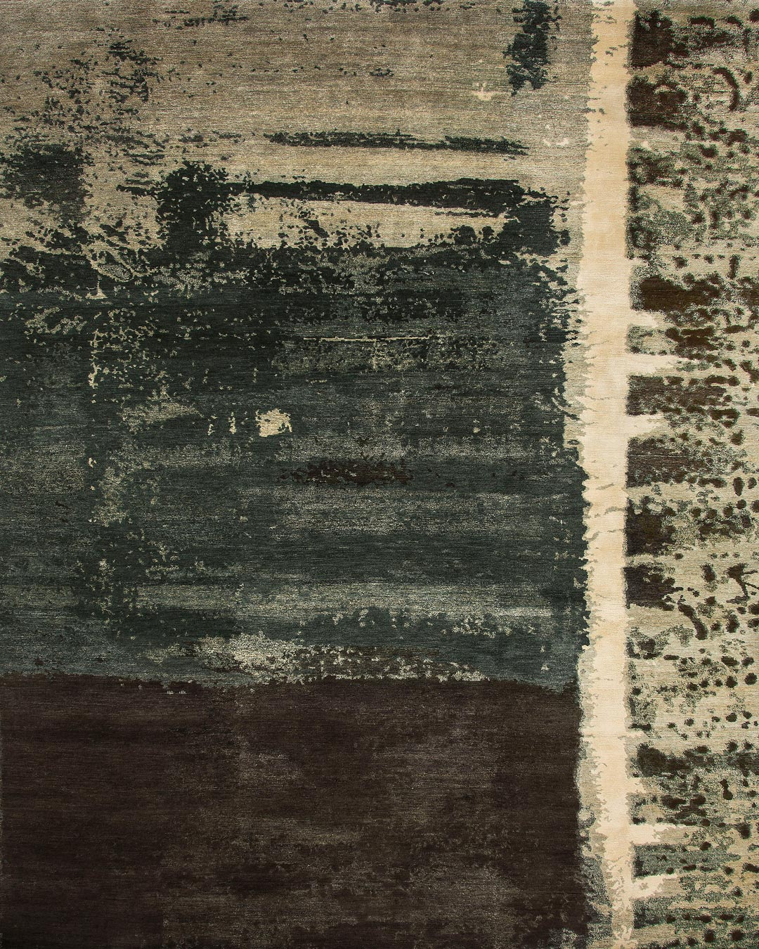 Overhead image of distressed Palimpsest rug by Hare and Klein in green colour