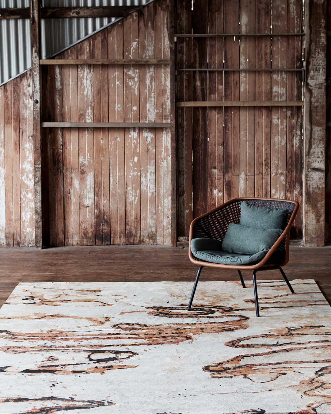 Styled image of Scribble brown rug by Hare + Klein