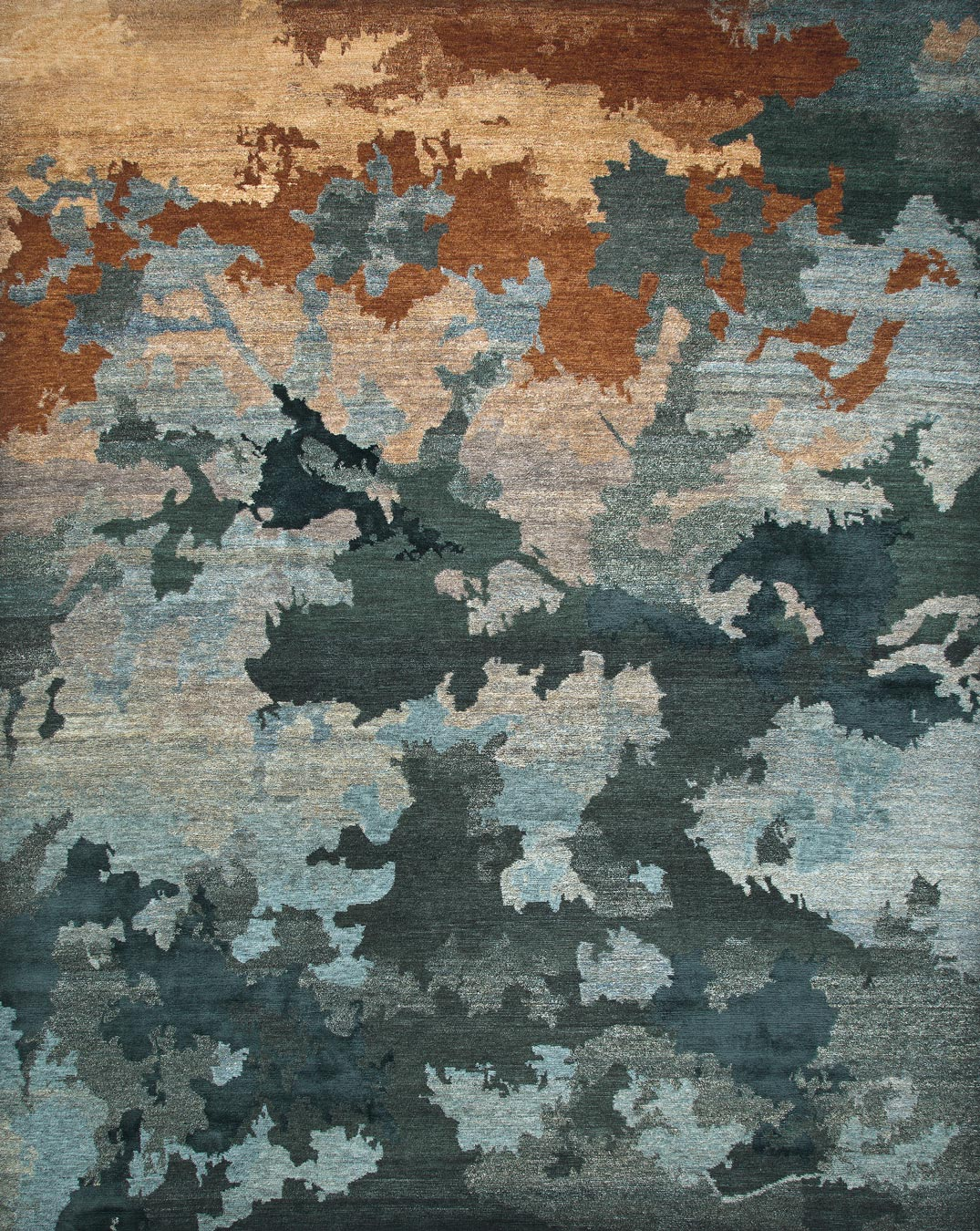 Overhead image of organic Shadows handknot rug by Hare and Klein in blue colour