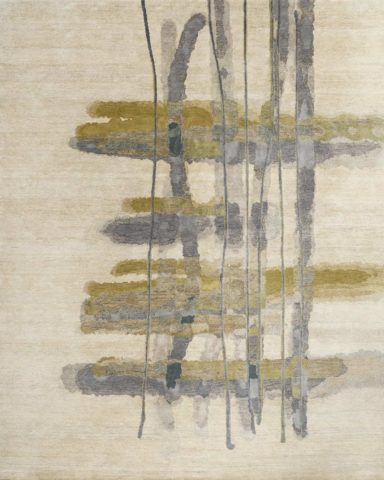 Overhead image of abstract Warp Weft rug by Hare + Klein