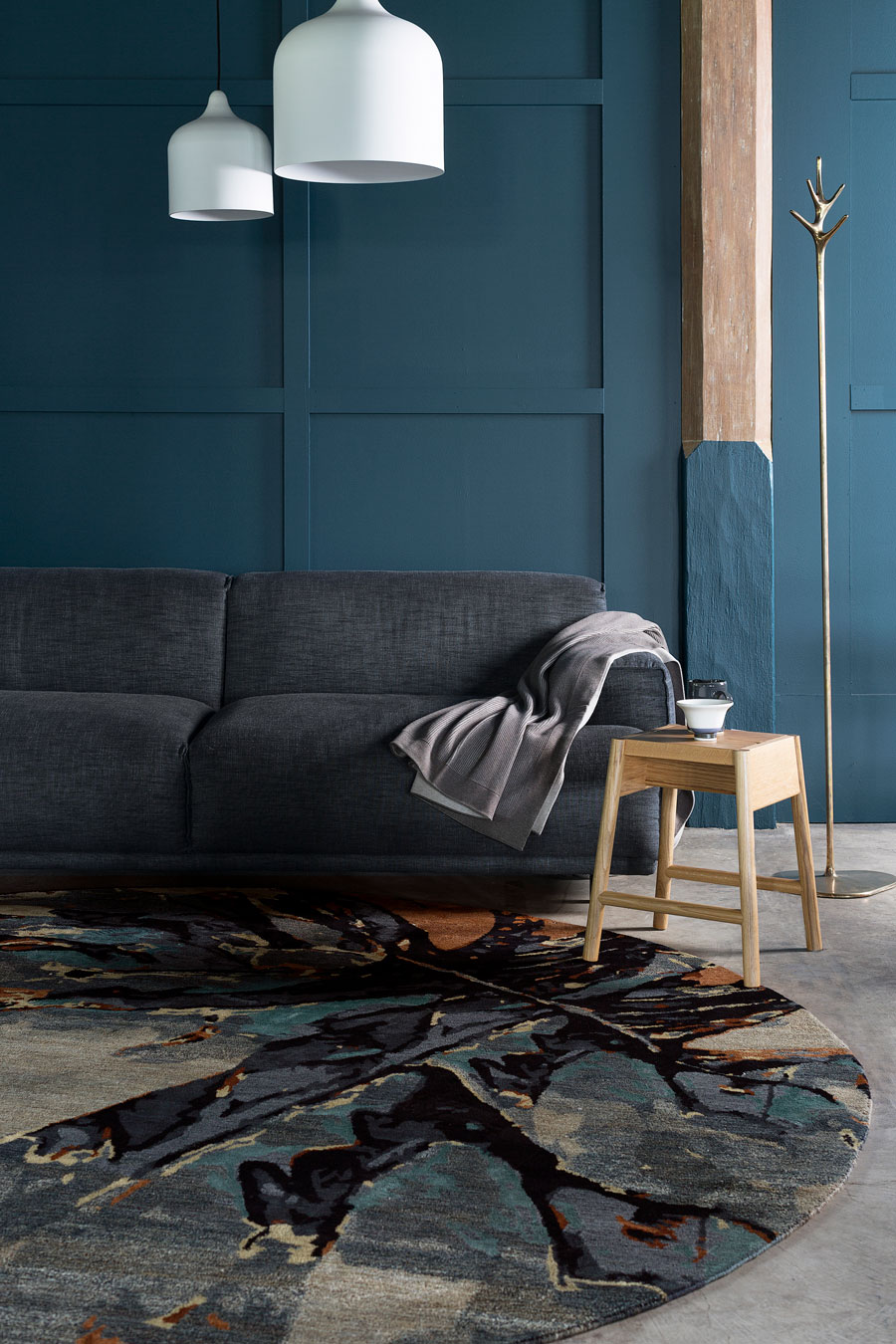 location shot of wings round rug by hare + klein