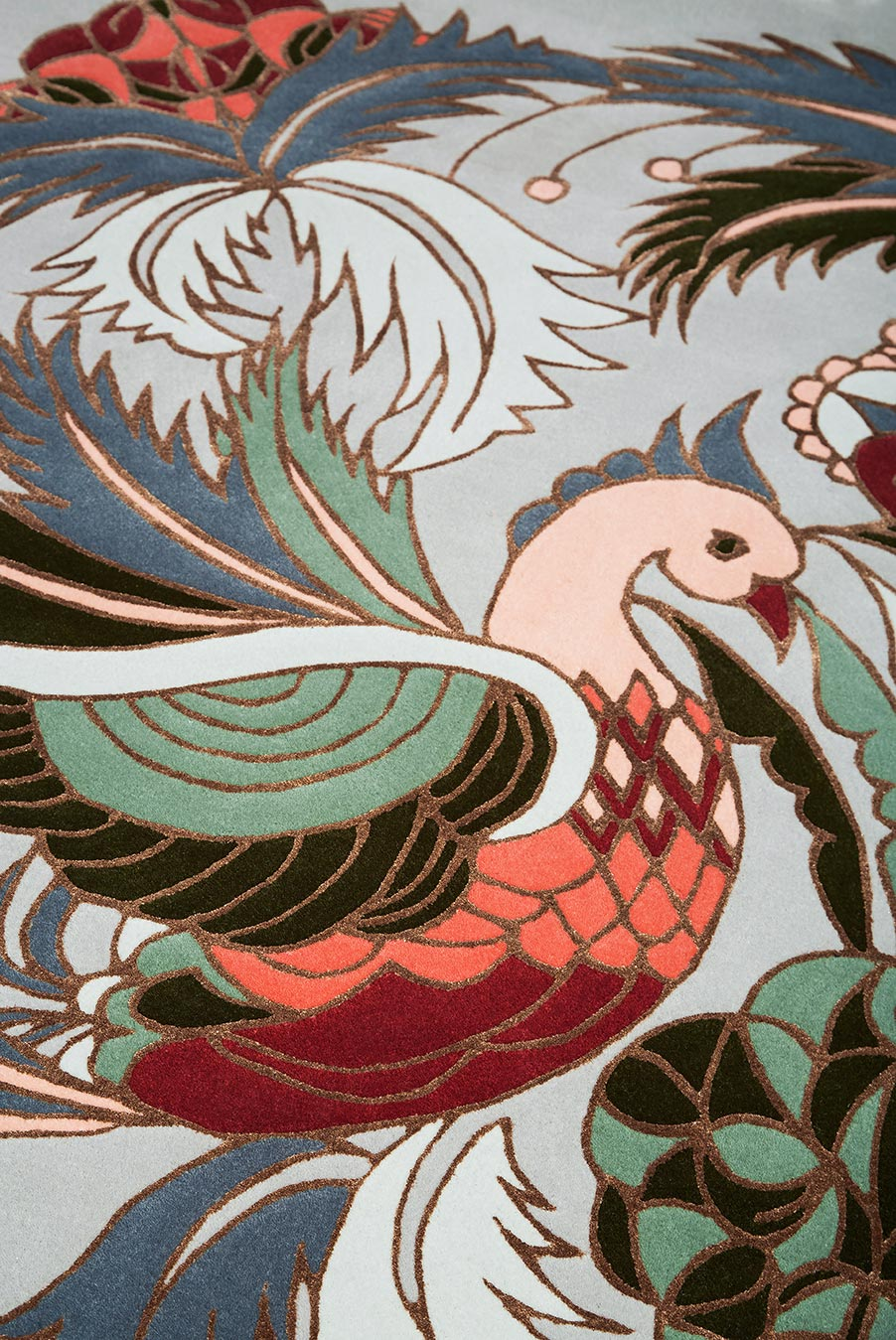 detailed image of art nouveau Bird Of Pine rug by house of heras