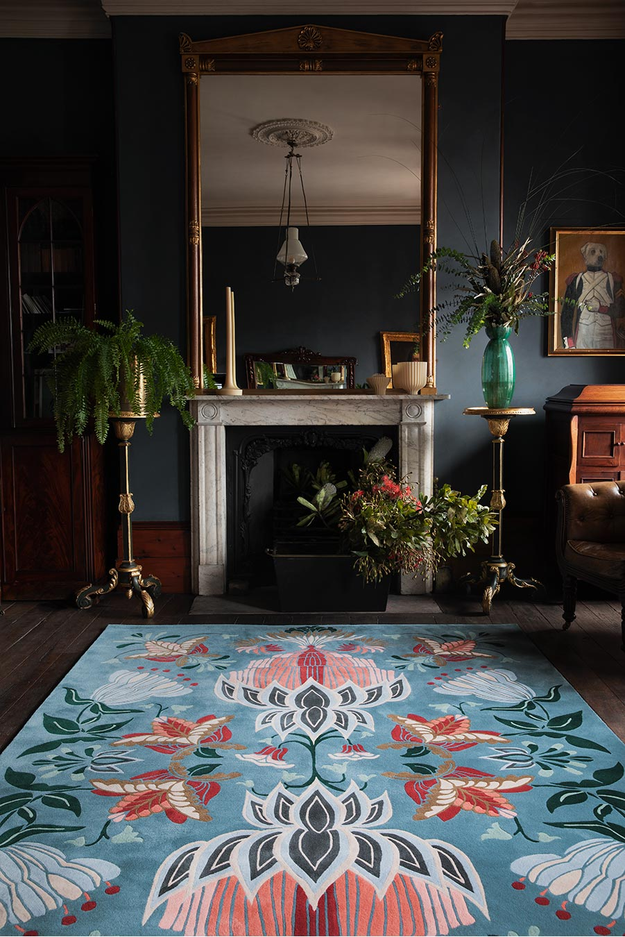 Location image of floral Cinnamon Bloom rug by House Of Heras in blue colour
