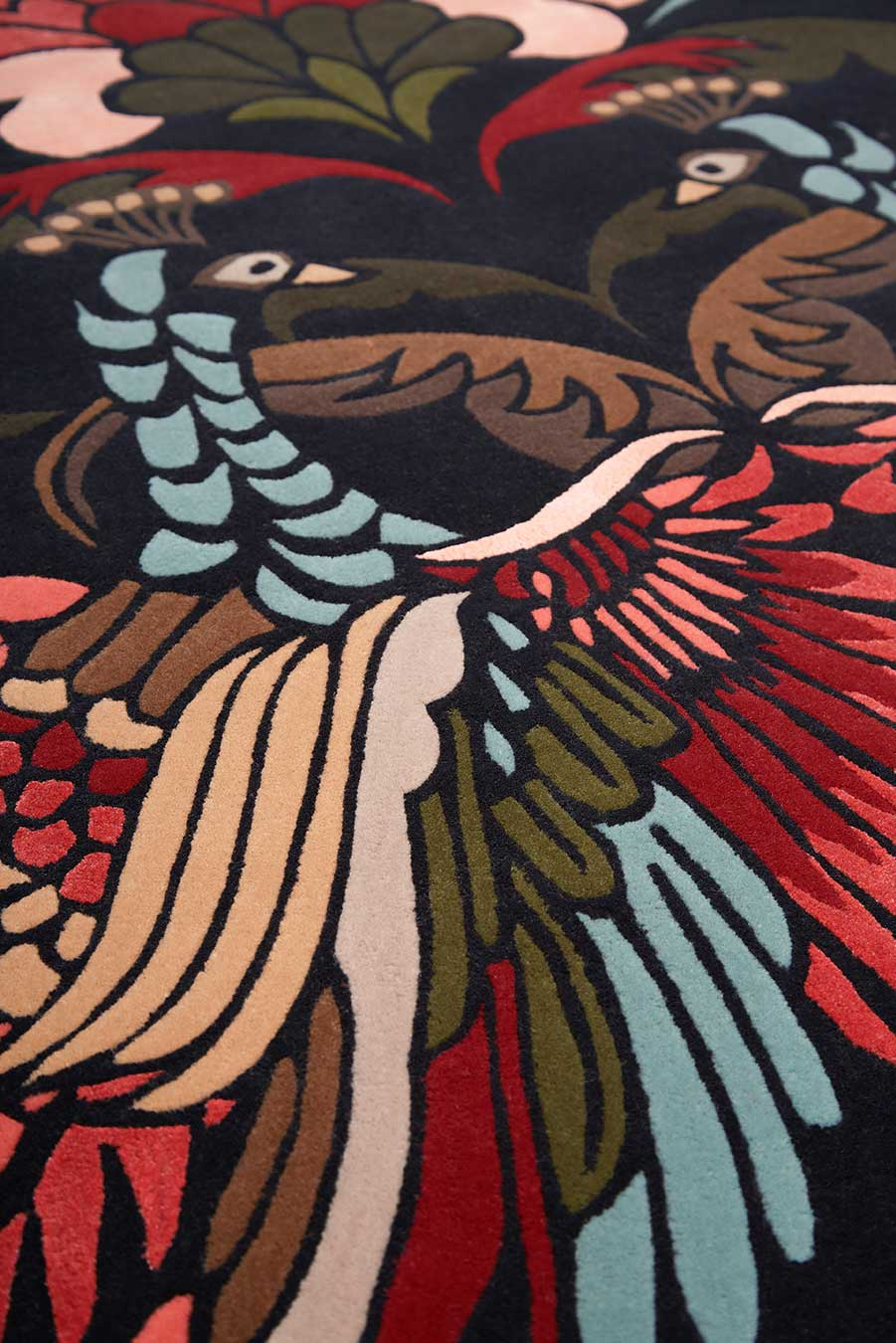 detailed image of art nouveau Golden Peacock rug by house of heras