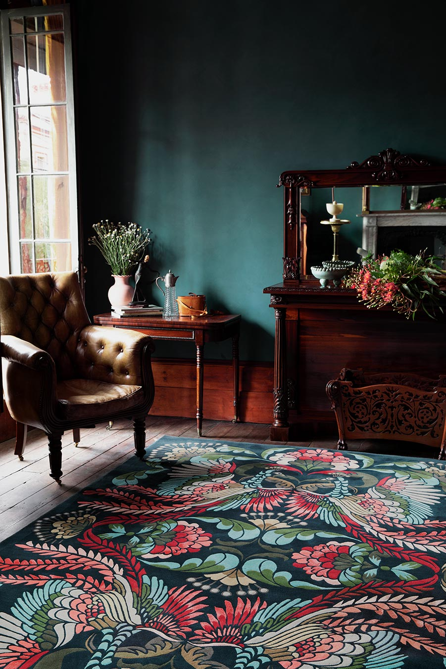 living room image of art nouveau Golden Peacock rug by house of heras