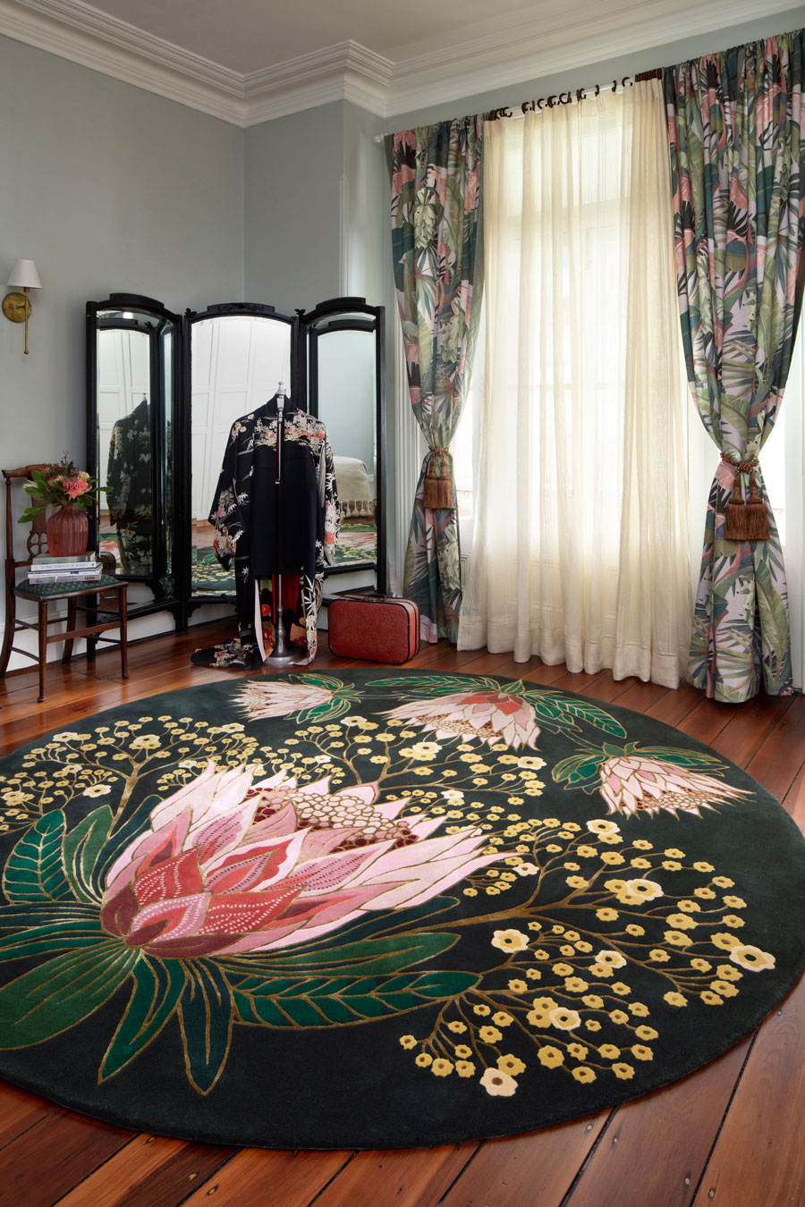 Overhead image of floral Sugarbush rug by House Of Heras
