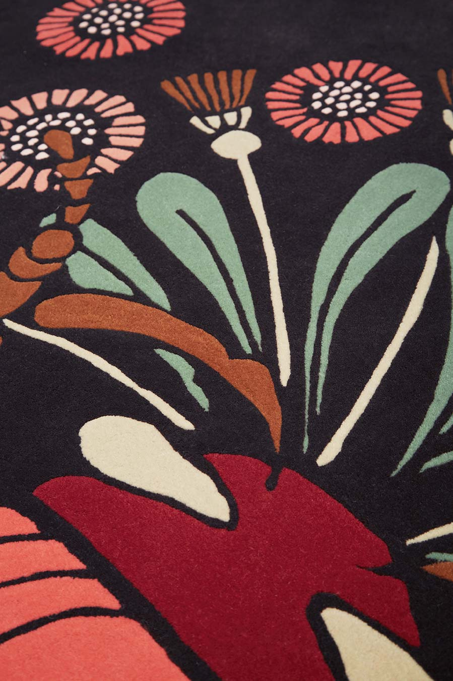 Close up image of floral The Bees Knees rug by House of Heras