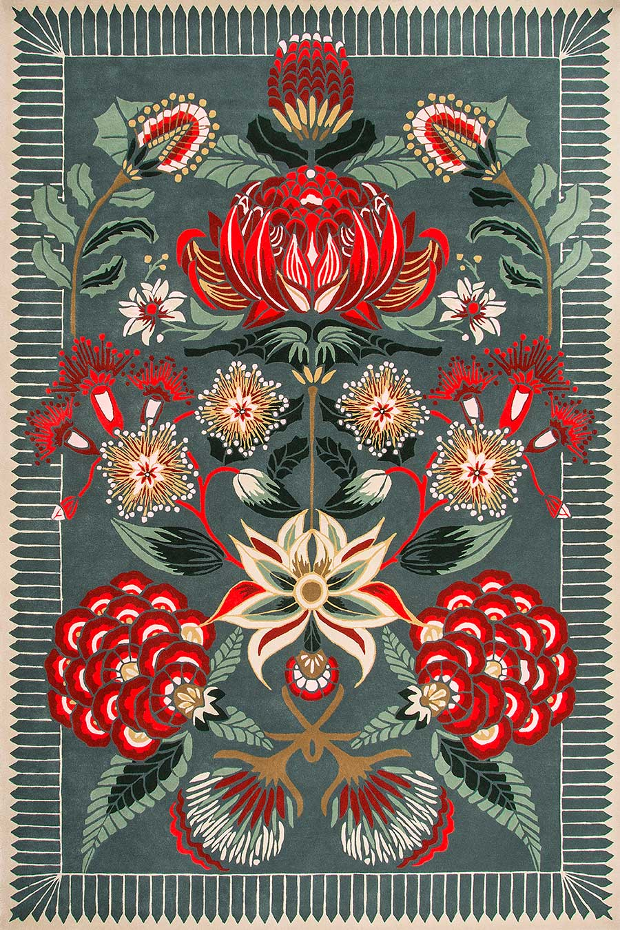 Overhead image of floral Waratah Wonderland rug by House Of Heras in green colour