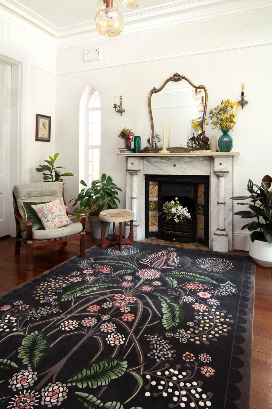 Living room image of floral Wattle Delight rug by House Of Heras in brown colour