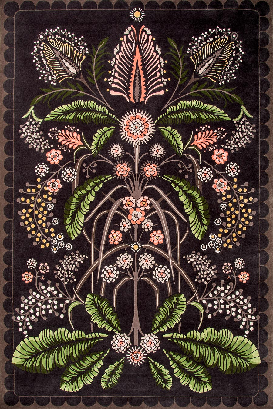 Product image of floral Wattle Delight rug by House Of Heras in brown colour